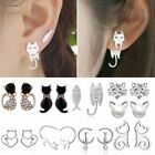 Cute Stainless Steel Crystal Pearl Cat Animal Ear Stud Earrings Women Jewelry image