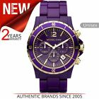 Michael Kors Watch Unisex MK5317¦Chronograph Purple Dial¦Stainless Steel Band