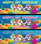 36 x 12 Personalized Baby Shark Birthday Party Banner - Green, Blue, Pink