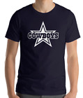 DALLAS COWBOYS NAVY T-shirt  WHITE Graphic Cotton Adult Logo S-2XL on eBay