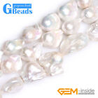 """Natural White Freeform Freshwater Pearl Gemstone Beads for Jewelry Making 15"""""""