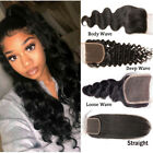 8A Kinky Curly 4*4 Lace Closure Brzilian Virgin Human Hair Deep Wave Free Part U