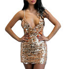 US Women's Sequin Plunging V Neck Bodycon Halter Sexy Clubwear Mini Dresses