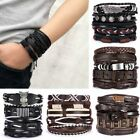 5/6pcs Fashion Mens Punk Leather Wrap Braided Wristband Cuff Bangle Bracelet New image