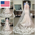 3 M Cathedral Length Lace Edge Bride Wedding White Ivory Long Veil Bridal W/Comb