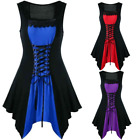 Womens Steampunk Lace Up Sleeveless Asymmetrical Summer Dresses Victorian Style