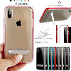 For iPhone X XR XS MAX 10 8 7 6S Clear Bumper Silicone Case Cover /W Kick-Stand