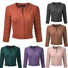 Womens Plain 3/4 Sleeve Knitted Cropped Casual Cardigan Ladies Crew Neck Outwear