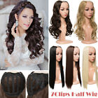 Half Head Wig 3/4 Head Wigs Long Straight Curly Wavy Clip In Hair Piece Ombre KT