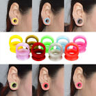 1 Pair Silicone Ear Plug Double Flare Saddle Flesh Tunnel Stretcher Gauge 6-25mm image