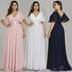 Ever-Pretty US Plus Wedding Dress Women V-neck Pink Chiffon Evening Gowns 09890