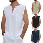 US Men's Linen V Neck Sleeveless Basic Tee T-shirt Casual Tops Blouse M-2XL image