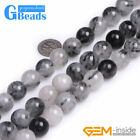 6mm-14mm Natural Black Rutilated Quartz Gemstone Round Beads Free Shipping 15""