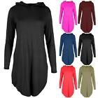 Womens Ladies Long Sleeves Hooded Curved Hem Baggy Oversized Tunic Dress Top