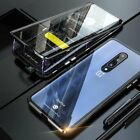 For OnePlus 7/8/T/Nord Magnetic Adsorption Metal Case 360° Tempered Glass Cover