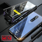 For OnePlus 7/ 8 /Nord Magnetic Adsorption Metal Case 360° Tempered Glass Cover