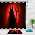 Waterproof Shower Curtain Set Hell Devil In The Mist With Backlit Bathroom Mat