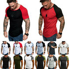 Men Short Sleeve T Shirt Slim Fit Muscle Sport Gym Casual Tee Summer Fashion Top image