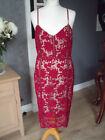 GORGEOUS NEW LOOK  RED NUDE UNDERLAY LACE PENCIL FRESS SZ 14 NEW