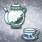 TEA CUPS AND TEA POT 11 MACHINE EMBROIDERY DESIGNS CD or USB