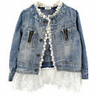 Lovely Girl Kids Denim Jacket Ruffle Lace Jean Coat Top Cowboy Outwear Clothes