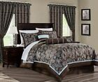 Tuscany 7-Piece Blue Brown Paisley Floral Jacquard Comforter or 4pc Curtain Set image