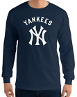 YANKEES New York NY Navy Long Sleeve T-Shirt White Graphic Cotton Unisex S-2XL on Ebay