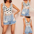 Women's Sexy V-Neck Sleeveless Embroidery Openwork Lace Vest Fringed Blouse AB