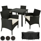 4 Seater + Table Rattan Garden Furniture Dining Chairs Set Outdoor Wicker New