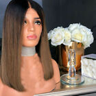 Women Ombre Blonde Straight Hair Wig Synthetic Natural Wig Party Costume Cosplay