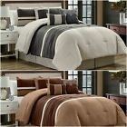 Chezmoi Collection 7-Piece Western Lodge Pleated Stripe Microsuede Comforter Set image