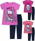 Girls T-shirt and Leggings Set Party Dance Summer 2 Piece Kids Age 3 4 5 6 Years