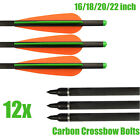 "Carbon Crossbow Bolts 12pcs 16/18/20/22"" inch Hunting Arrows Half Moon 2219 New"
