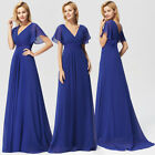 Ever-Pretty US Long V-neck Evening Gown Short Sleeve Bridesmaid Dresses 09890