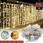 1800 LED Curtain Light String Fairy Wedding Lights Indoor Outdoor Christmas