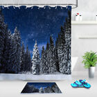 Winter Forest Shower Curtain Hooks Pine Tree In Snow Natural Scenery Bath Mat Lb