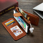All in One Zip Wallet Purse Flip Leather Magnet Case Cover iPhone X XR 8+ 7+ 6 5
