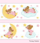 Pink Teddy Bear Nursery Baby Girl Wallpaper Border Wall Art Kids Room Stickers