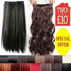 Half Head Hair Extensions Curly Straight Clip-in Human feel Long Brown Burgundy