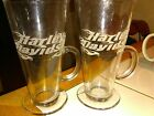 Vtg HARLE DAVIDSON flames Signature Pilsner beer glasses with handles Rare