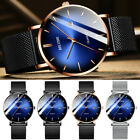 BELUSHI 1985 Men's Stainless Steel Blue Analog Face Mesh Band Quartz Wrist Watch image