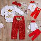 Newborn Baby Girl My 1ST Christmas Tops Romper Pants Hat Outfit Clothes 3Pcs Set