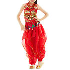 Kids Belly Dance Set Halter Top  Harem Pants Set Tribal Gypsy Party Costume