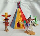 Vintage TIMPO, 1970's, Native American Indians & a Teepee,  54mm sc plastic.