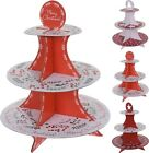 Pack of 2 Disposable 3 Tier Christmas Cardboard Cup Cake Food Stand Red/White