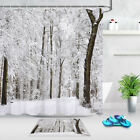 Forest In Winter Snow Shower Curtain Freezing Weather Barren Jungle Bath Mat