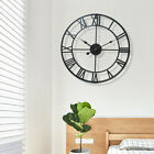 40CM Large Roman Numeral Numerals Metal Wall Clock Big Round Open Face Garden