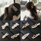 Women Exquisite Pearl Hair Clip Snap Barrette Stick Hairpin Bobbypin Accessories