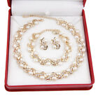 Bridal Necklace Earrings Bracelet White Pearl 18K Gold/Silver Plated Jewelry Set
