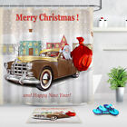 Santa In A Classic Car Gifts Merry Christmas Shower Curtain Hook Fabric Bath Mat